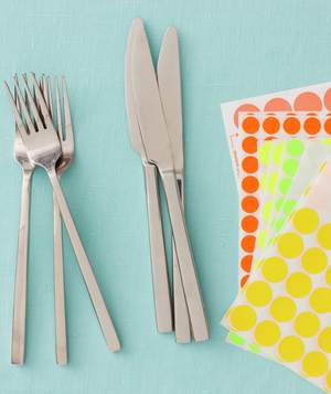 Flatware and sticky office dots