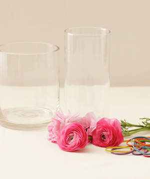 Vases, flowers, and rubber bands