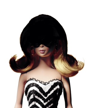 Barbie doll with shaded face and sunglasses