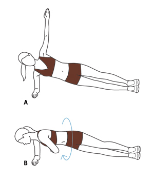 Illustration, Side Plank With Reach-Through