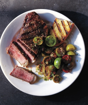 Steak With Baby Tomato Salad and Grilled Bread