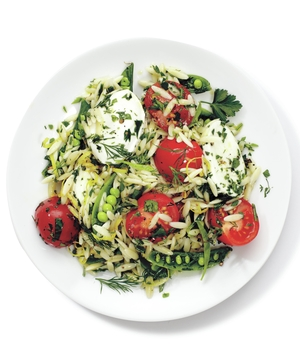 Mozzarella, Orzo, and Snap Pea Salad