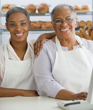 Two women working in bakery