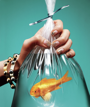 Hand with gold glitter nails holding bag with goldfish
