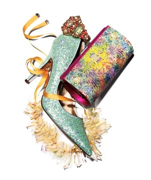 Glittery mint shoes, iridescent necklace, colorful crystal clutch