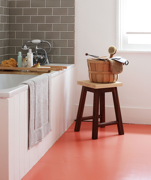 Bathroom with white walls, grey tiles and coral floor