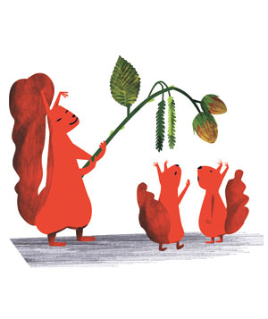 Illustration: large squirrel dangling acorns over little squirrels