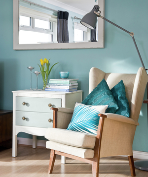 Corner painted robin's egg blue and and armchair