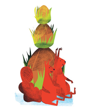 Illustration: squirrel balancing acorns on tail, looking at acorn with other squirrel