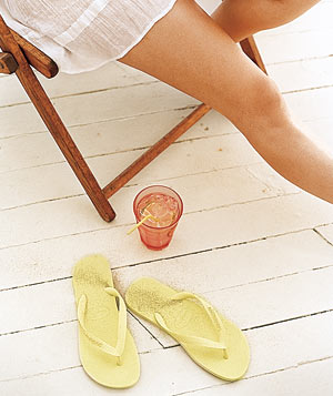 Lounging with a drink and flip-flops
