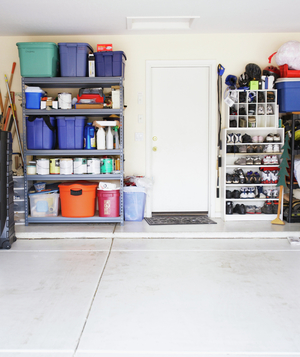 Garage full of stuff but still with room for a car
