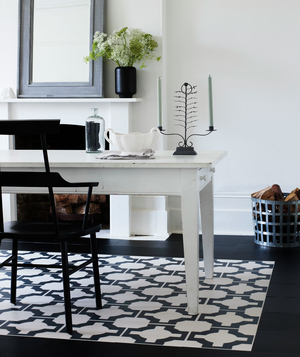 Dining area with bold black and white patterned area rug