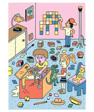 Illustration: children playing with toys
