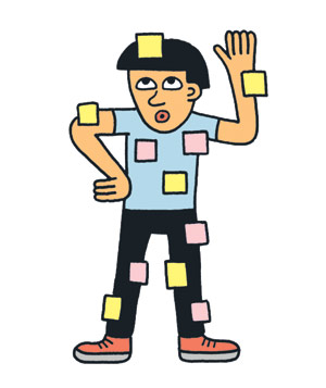 Illustration: child covered in Post-its
