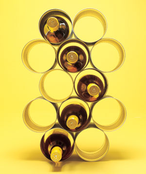 Coffee cans stacked as wine rack