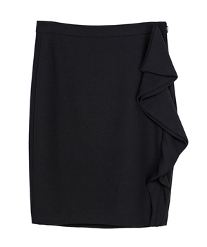 Zara Pencil Skirt With Ruffle