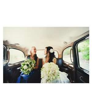 Bride and mother in car