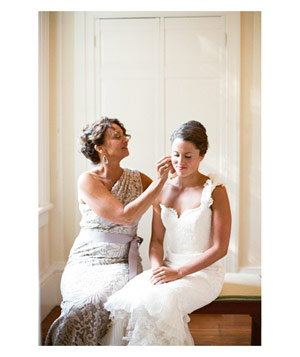 Mother helping bride get ready before wedding