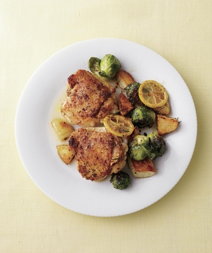 Chicken Thighs with Potatoes and Brussels Sprouts