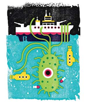 Illustration of virus, ship, and submarines