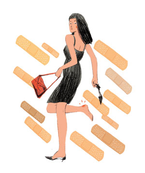 Illustration: woman with blisters surrounded by Band-aids