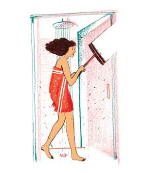 Illustration: woman with squeegee in shower