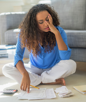 Woman stressed about finance