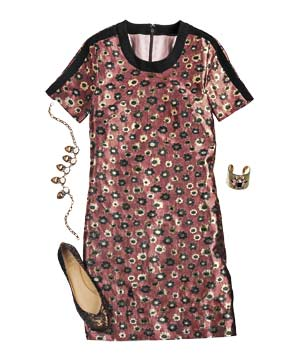 Brocade JCrew shift dress with accessories