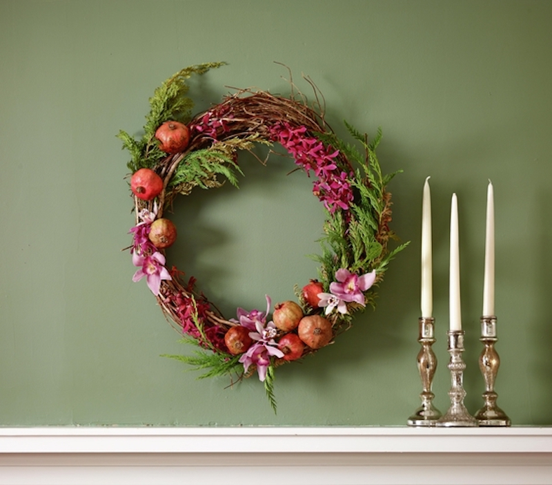 Holiday decoration ideas, Mantel wreath with flowers and pomegranates