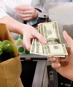 Purchasing groceries with cash
