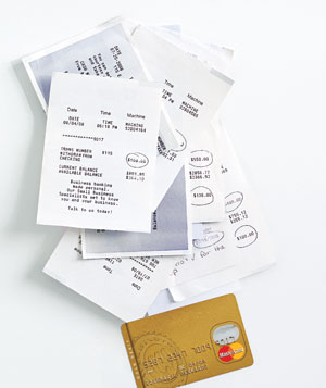 A pile of ATM receipts
