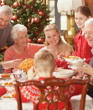 Large family at holiday table