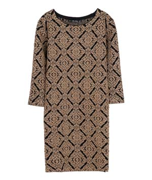 Zara Gold Brocade Sweater Dress