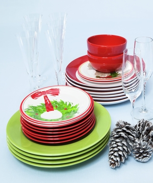 Holiday plates and glasses