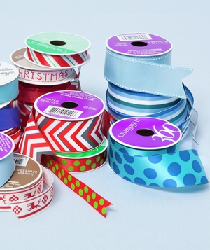 Stacks of ribbon rolls
