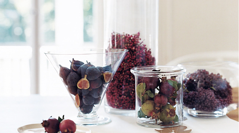 Jars with colorful fruit and berries