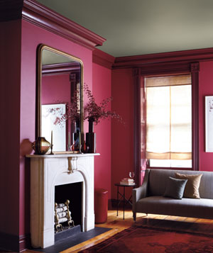 Berry, putty and burgundy decorated room