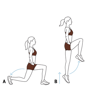 Illustration: lunges with hops