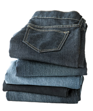 Stack of folded jeans
