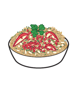 Pomegranate seeds in a pilaf