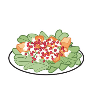 Pomegranate seeds in a salad