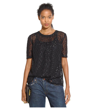 Madewell Shirred Top in Shimmer Dot