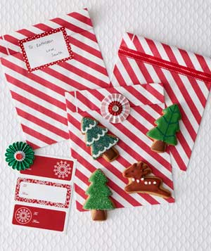 Striped holiday bags