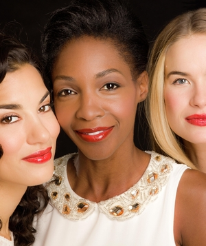 3 models wearing red lipstick