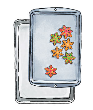Illo: baking sheet and jelly roll pan