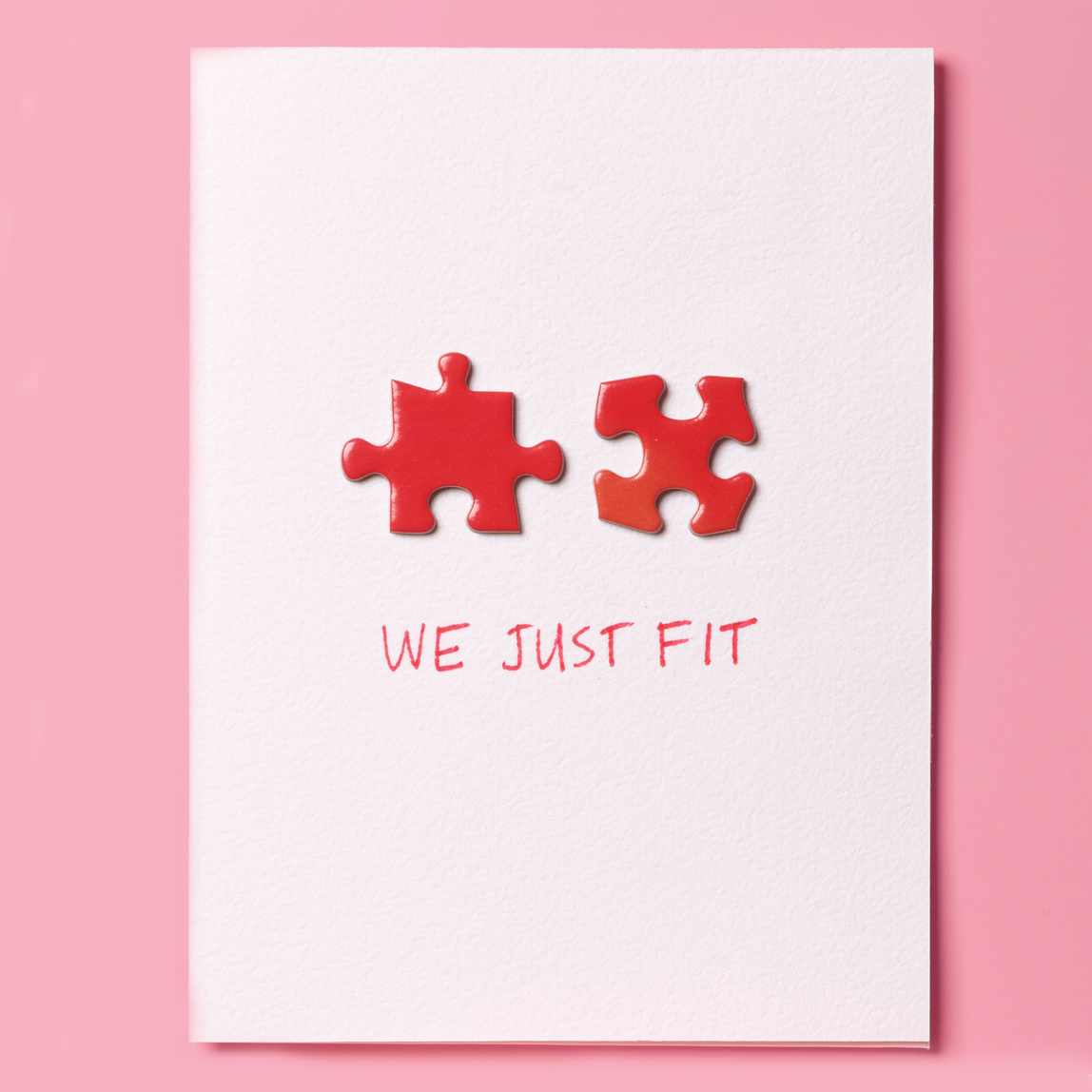 "DIY Valentine's Day Cards, ""We Just Fit"" with a puzzle piece on card"