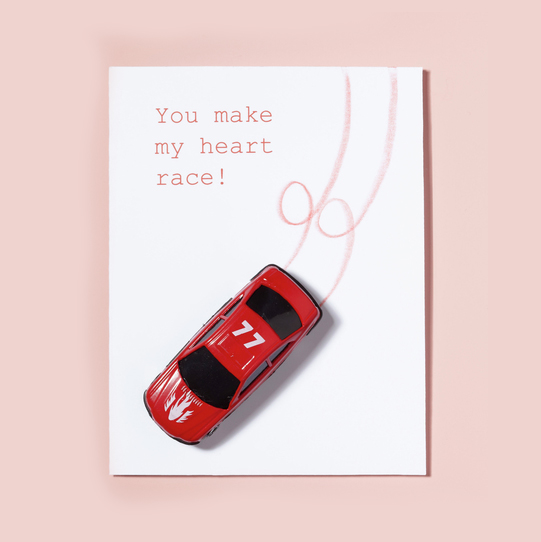 Homemade Valentine cards, card with toy car