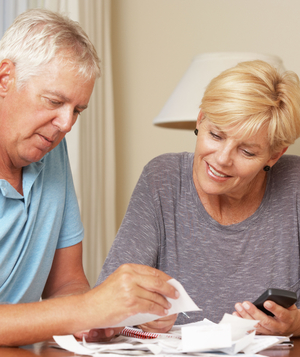 Couple reviewing bills