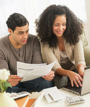 Couple reviewing finances
