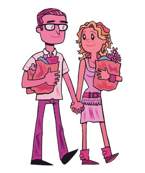 Illo: couple holding hands and carrying groceries
